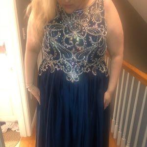 Navy Blue Plus Size Prom Dress